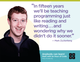 Mark Zuckerberg endorsing computer science education